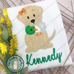 Girl Labrador Dog with Duck Applique Design ~ Girl Duck Dog Applique Design